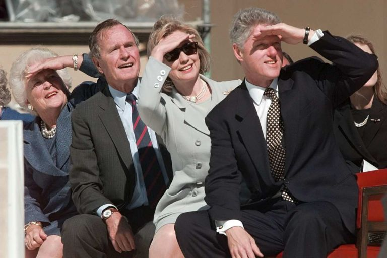 George Bush, Hillary Clinton, Bill Clinton
