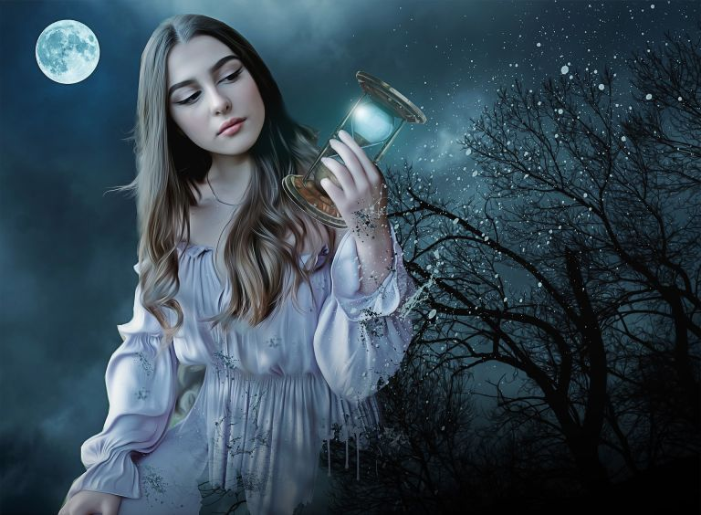 Gothic girl with hourglass, moon, time, dark, fantasy
