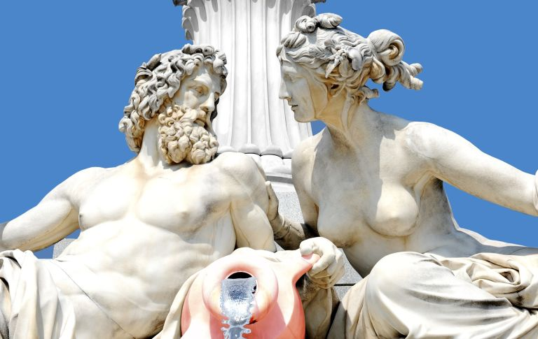 Greek god and goddess statues: White marble with pillar