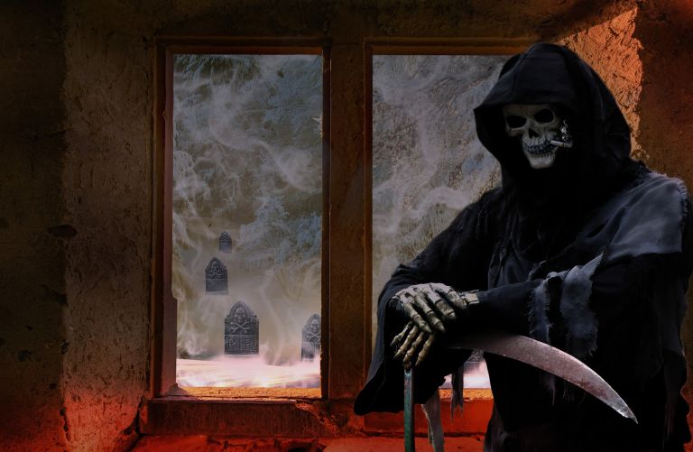 Creepy and funny grim reaper, smoking, scythe, tombstone