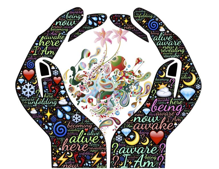 Hands holding: Alive, awake, aware, spiritual,