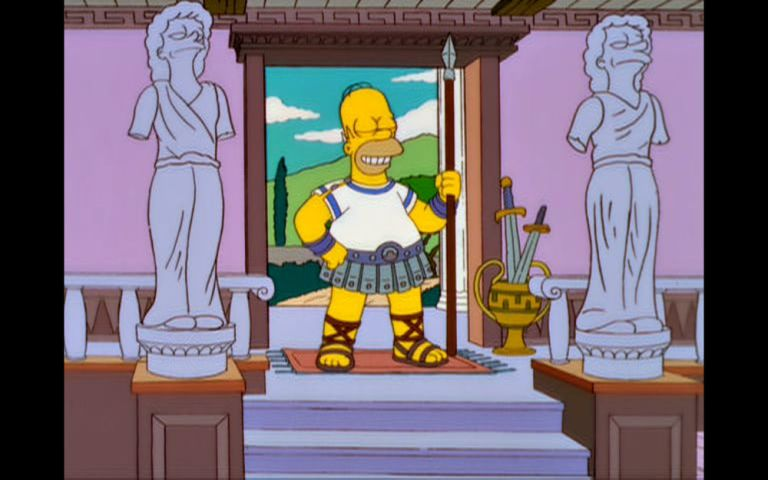 Homer Simpson as a Greek warrior with statues