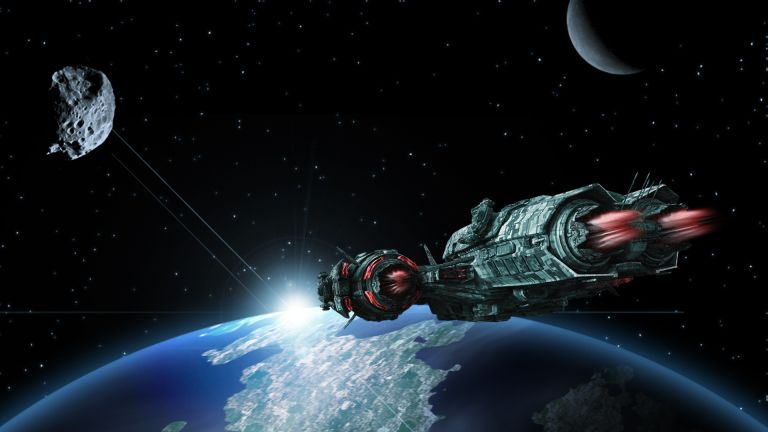 Journey through universe with space ship