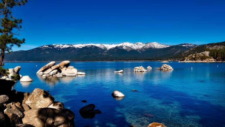 Snowy mountains over Lake Tahoe