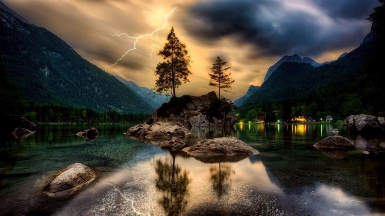 Lightning on islet, lake, trees, dusk, sunset, dreamy, landscape