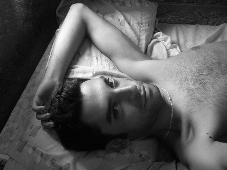Man in bed - black and white