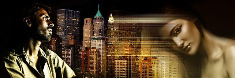 Man, woman, sad, separation, good bye, skyline, skyscrapers, night, new york