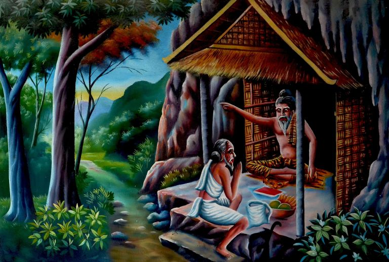 Master-Disciple, old painting, Buddha