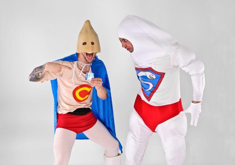 Men in superhero costumes as condoms