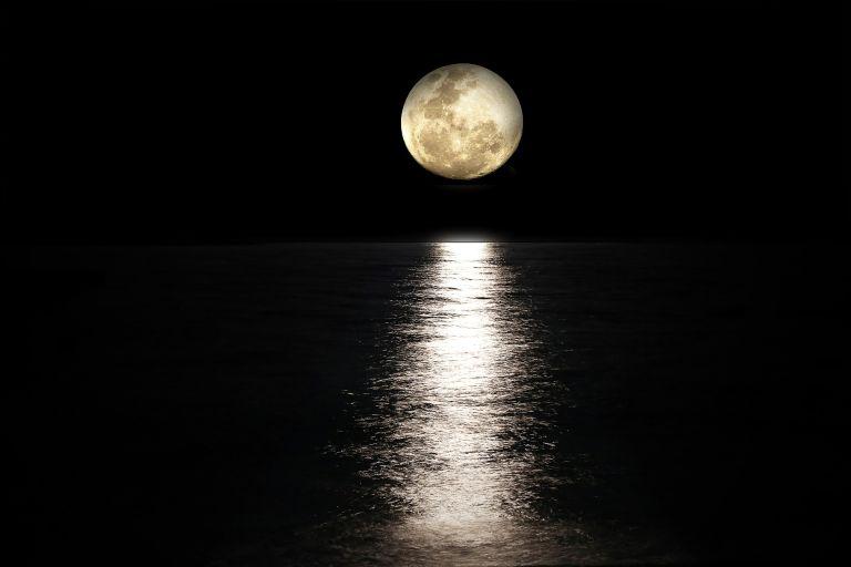 Moon-light reflected on sea