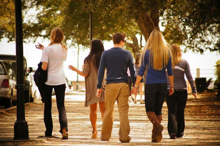 Friends walking in the park
