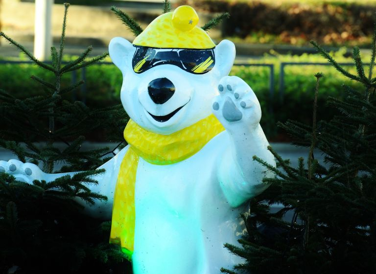 Cool and cute polar bear with yellow scarf and sunglasses