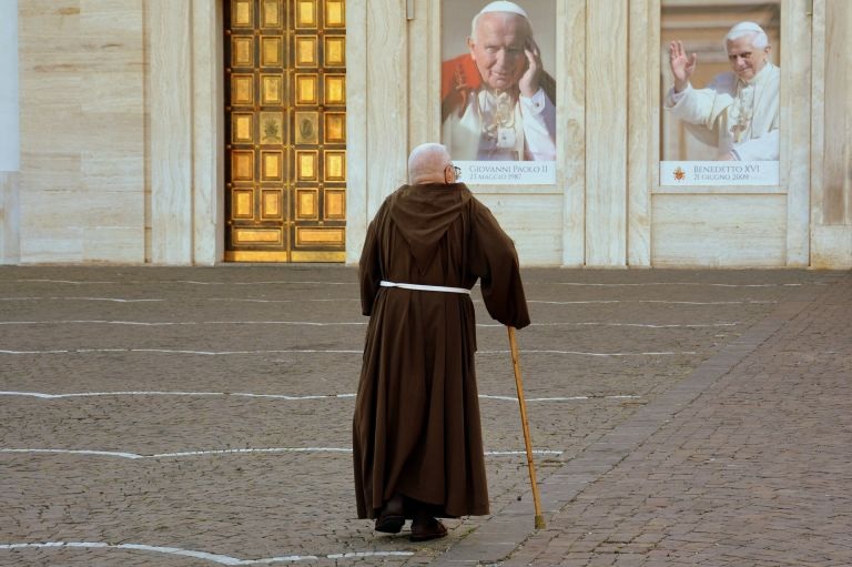Popes in shop-windows and monk