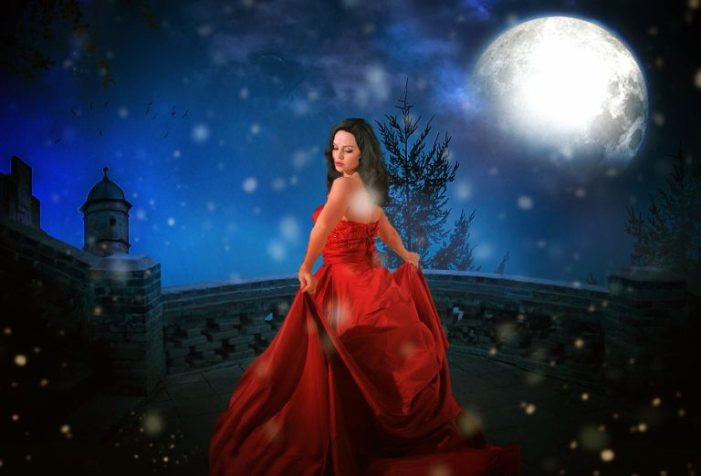 Princess in red gown with moon