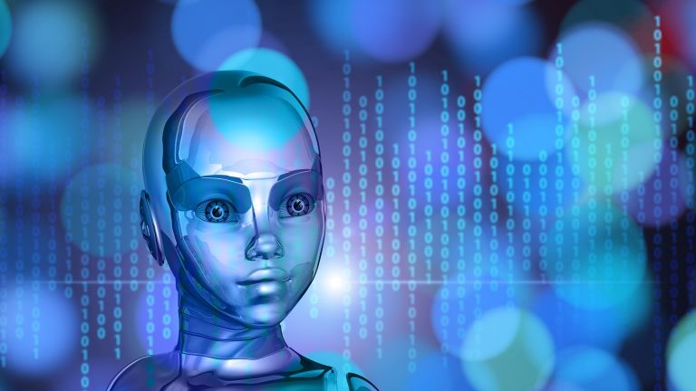 Android-Robot in blue science fiction world