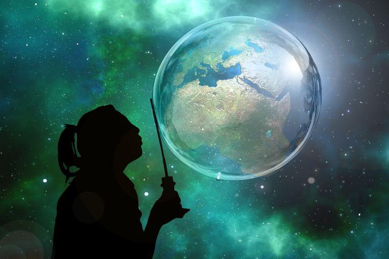 Earth in soap bubble