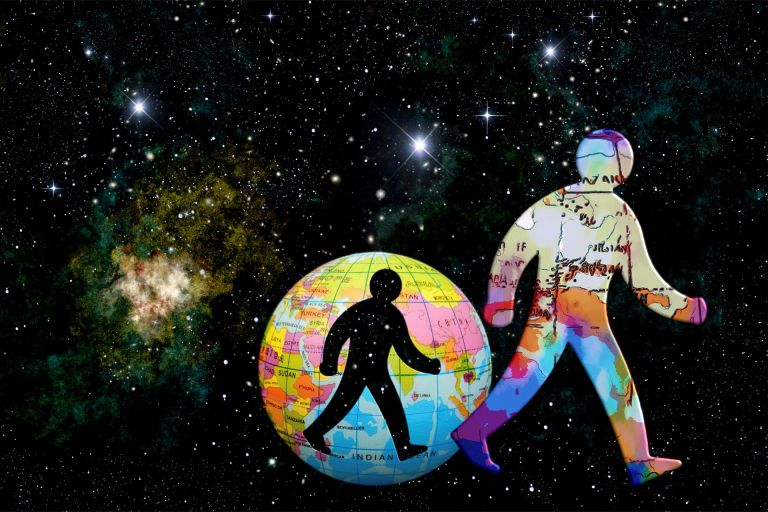 Universe, man, planet, galaxy, stars, psychedelic