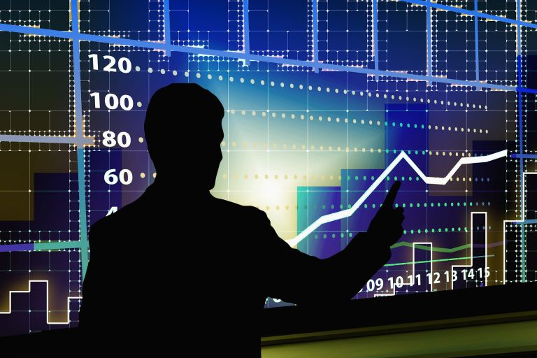 Stock market speculation - computer screen with stock chart