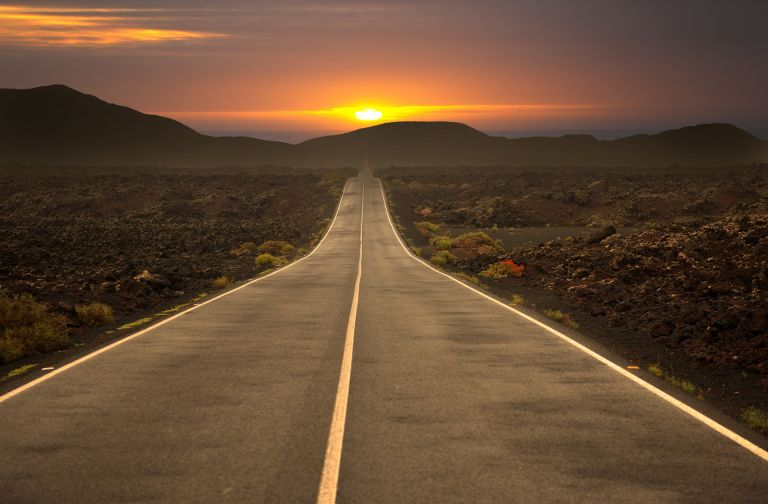Sunset, road, freeway, highway, street