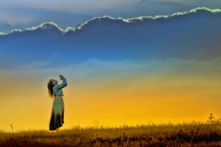Woman praying, worship, sunset, god