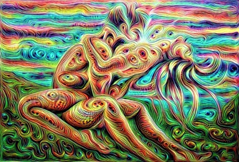 Tantra couple in psychedelic sexual union