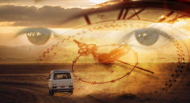 Time travel with car through desert, eyes watching