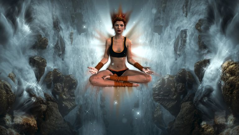 Meditation woman in psychedelic dimensions