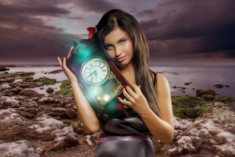 Woman with clock in hands next to ocean