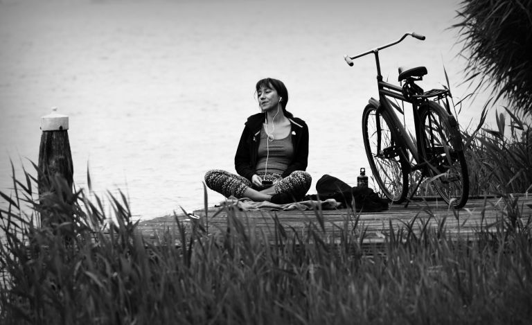 Woman, sitting, meditating, bicycle, meditation