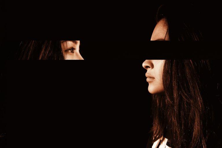 Woman watching herself