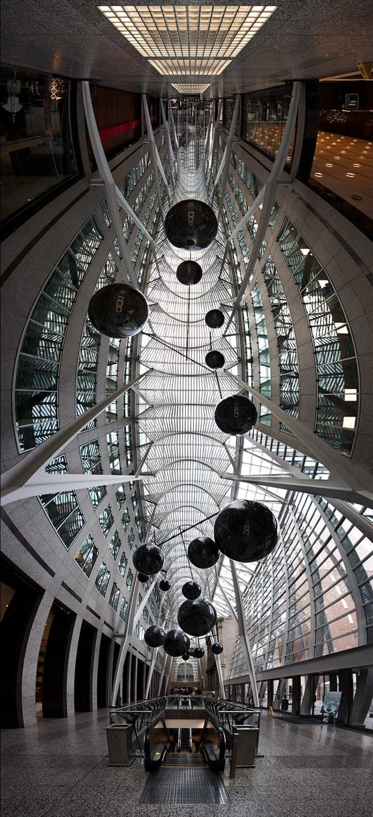 Art installation by Xavier Veilhan and metal ceiling structure by Santiago Calatrava