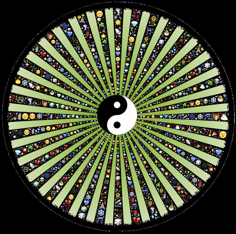 Yin-Yang radiating green beams