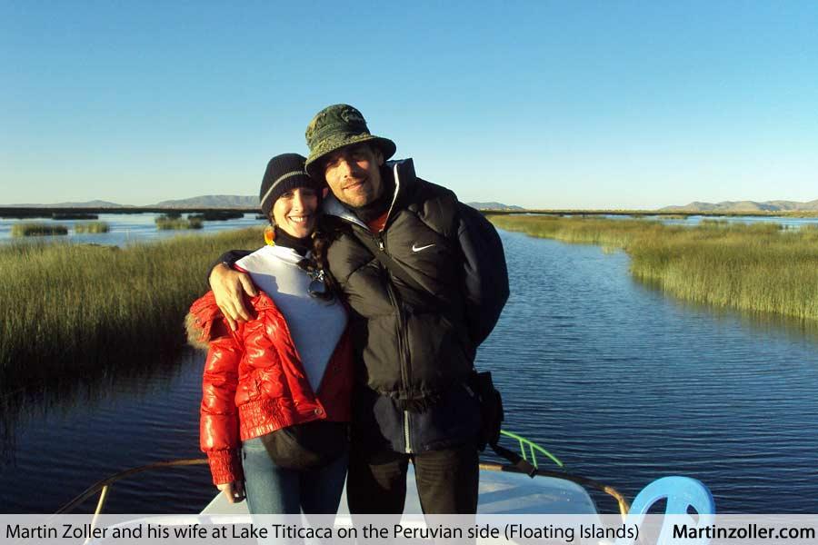 Martin Zoller with wife Oazis at Lake Titicaca, Peru