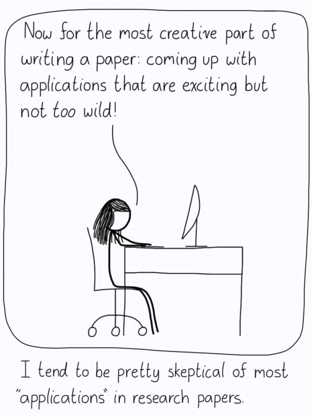 """Researcher (while writing a paper): """"Now for the most creative part of writing a paper: coming up with applications that are exciting but not too wild!"""""""