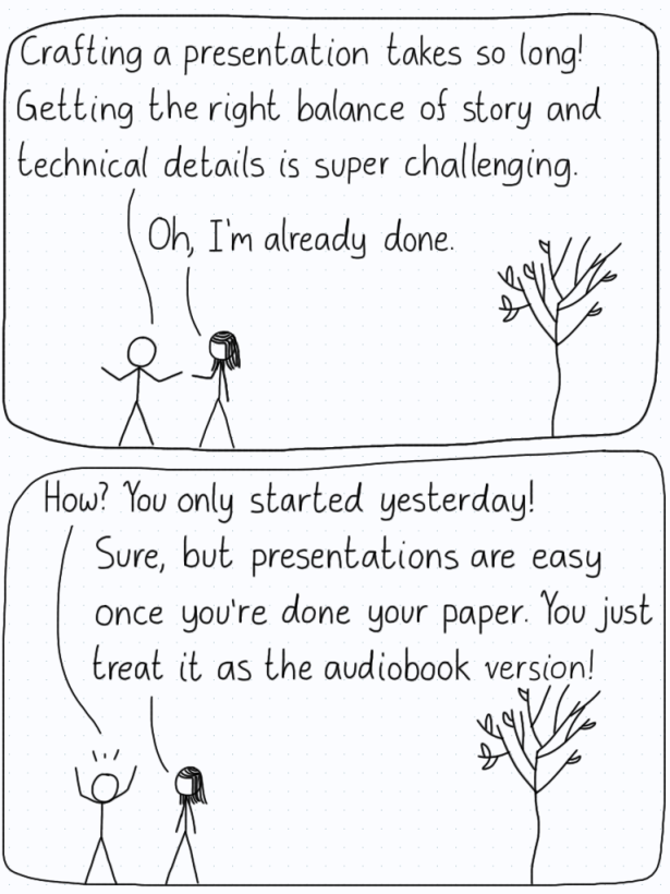 """Student 1: """"Crafting a presentation takes so long! Getting the right balance of story and technical details is super challenging."""" Student 2: """"Oh, I'm already done."""" S1: """"How? You only started yesterday!"""" S2: """"Sure, but presentations are easy once you're done your paper. You just treat it as the audiobook version!"""""""