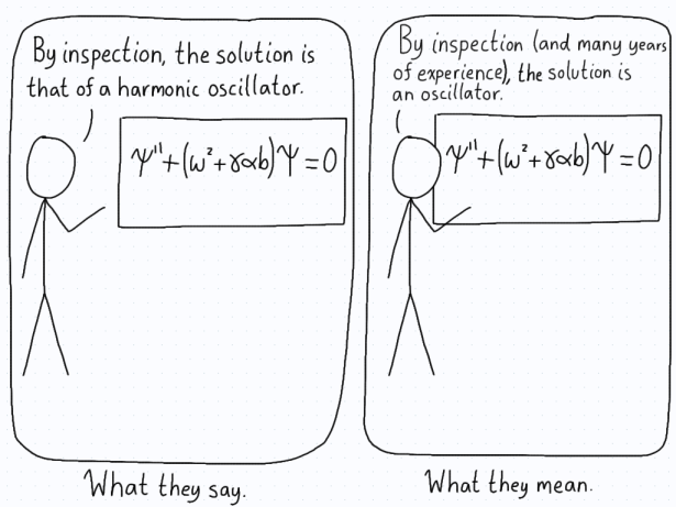 The differential equation for oscillatory motion is on the board. The professor explains that the solution is clear by inspection, when really it's the years of experience that makes it clear.