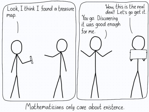 In the first panel, a mathematician shows their friend what they think is a treasure map. The friend confirms that it is a map, and wants to go find it. The mathematician just shakes their head and says they are satisfied with knowing it exists.