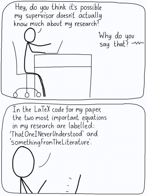 "In the first panel, a student is unsure if their supervisor is actually invested in their research. In the second panel, he explains that his supervisor has given labels to the equations as ""ThatOneINeverUnderstood""."