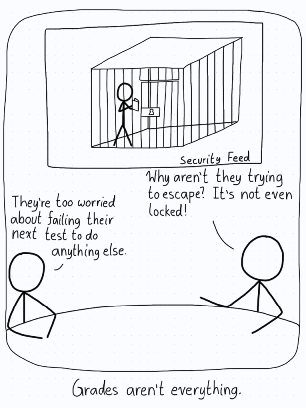 A student is kept in a cage that is unlocked, not even trying to escape because they are worried about not studying enough.