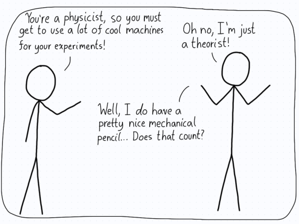 Someone asks a physicist if they get to play with a lot of cool science devices. The physicist shrugs and says that their most advanced device is a mechanical pencil.