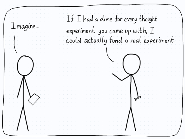 A theoretical physicist begins to explain their thought experiment, but is interrupted by an experimental physicist who says that they could fund an actual experiment if they got a dime for each thought experiment that was cooked up.