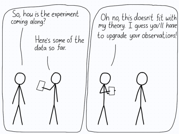 A theorist doesn't like the new data, and tells the experimenter to upgrade the observations.