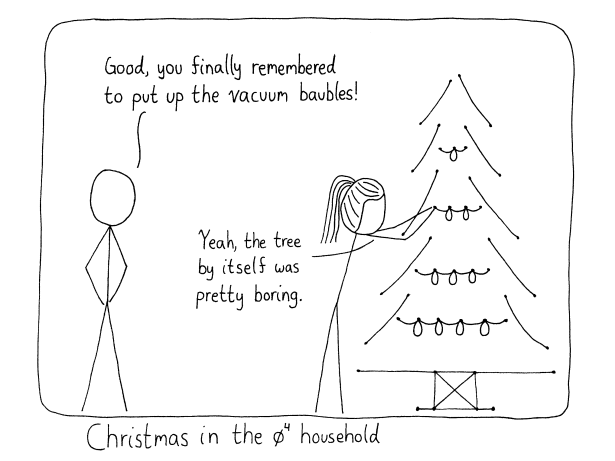 Person 1: Good, you finally remembered to put up the vacuum baubles! Person 2: Yeah, the tree by itself was pretty boring. Caption: Christmas in the phi^4 household.