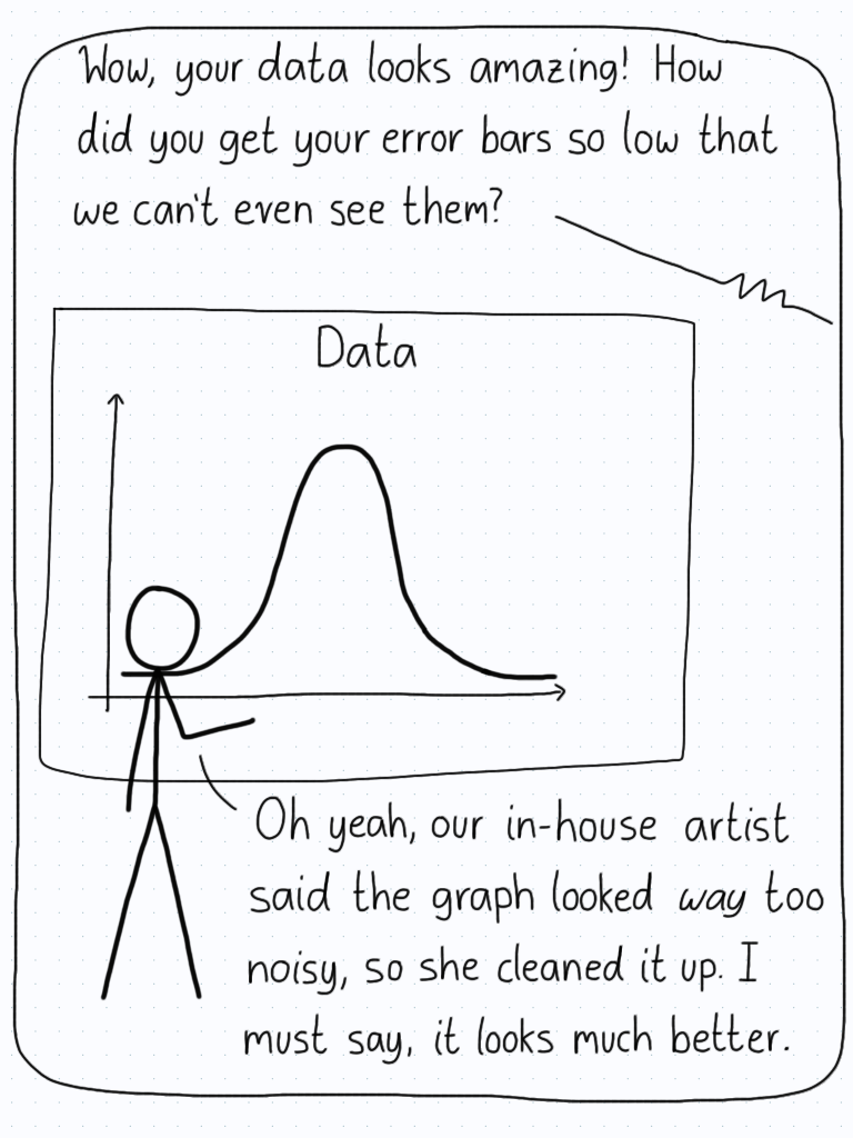 "A scientist presents their data, and it is really clean and perfect. An audience member comments on how great the data is, mentioning that the error bars are so small that they can't be seen. The scientist replies by saying that their in-house artist ""cleaned up"" the diagram because it was super noisy."