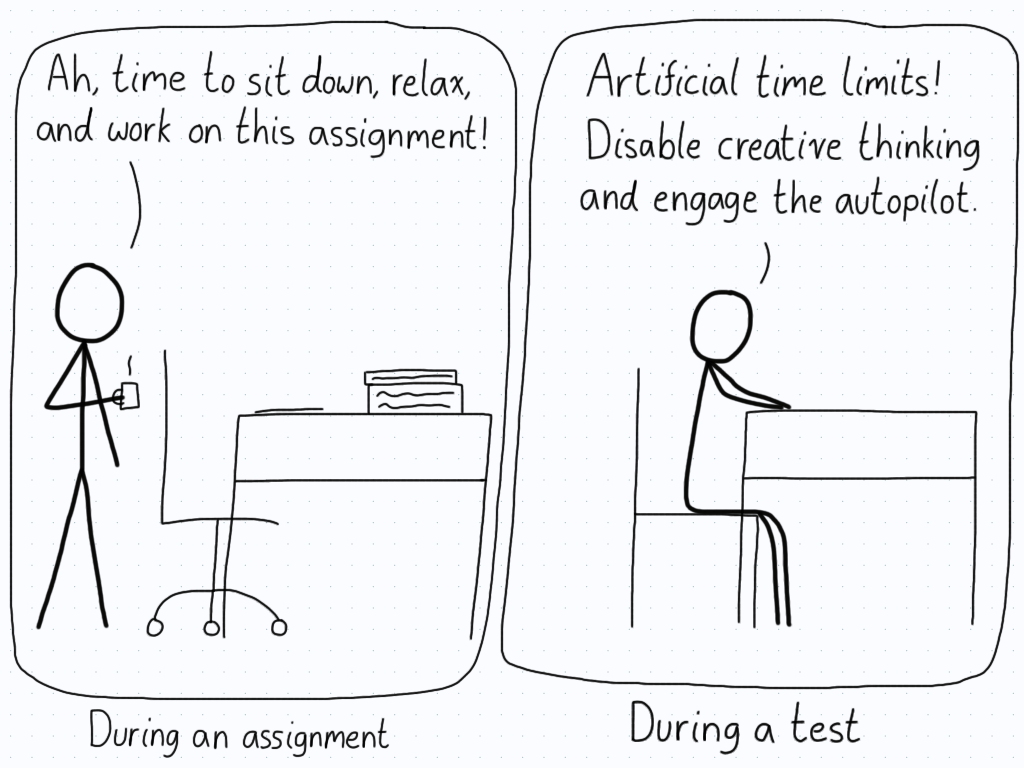 """In the first panel, a student eases into their work, content to think deeply about the content. In the second (the test), the student enters """"autopilot"""" in order to finish the test on time."""