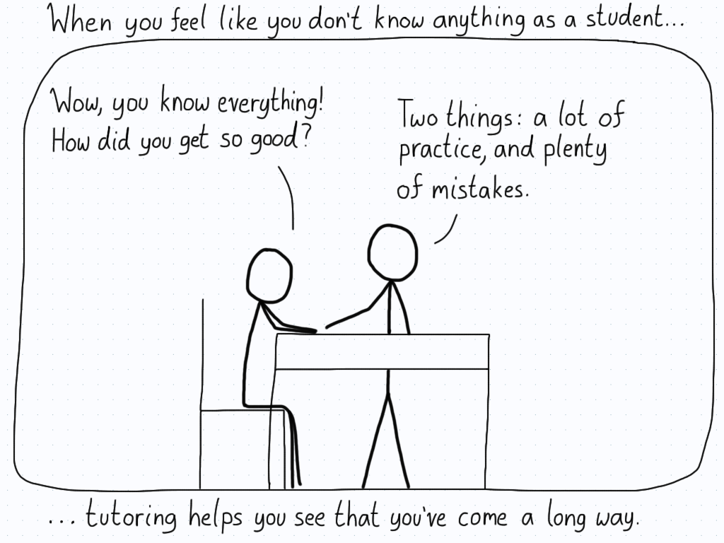 A student wonders how their tutor knows everything, and the tutor replies that it's a result of getting a bunch of things wrong themselves when they were in a similar position.