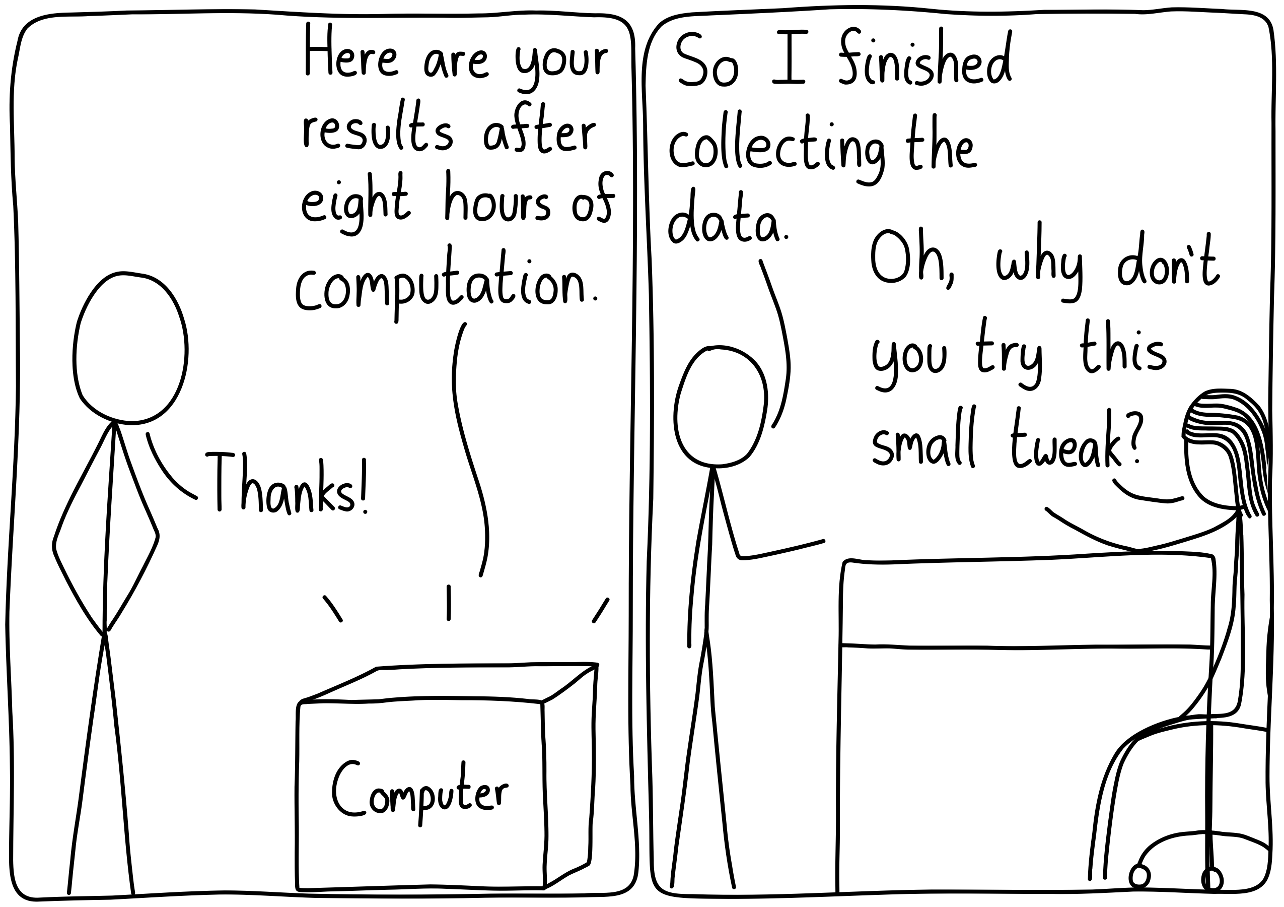 """Left panel: The black box computer says, """"Here are your results after eight hours of computation."""" The student says, """"Thanks!"""". Right panel: The student says, """"So I finished collecting the data."""" The professor says, """"Oh, why don't you try this small tweak?"""""""