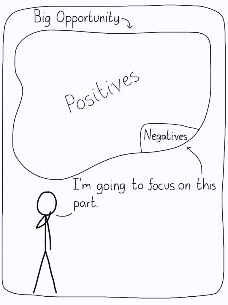There is a big opportunity for a student with plenty of positives, but they choose instead to focus on the small negative part.