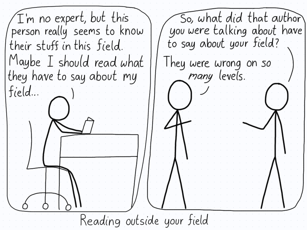 """Person is reading a book and thinks the author is quite insightful. Later, a friend asks if the author has some interesting insights in their own field, and the person exclaims that the """"expert"""" is an idiot."""