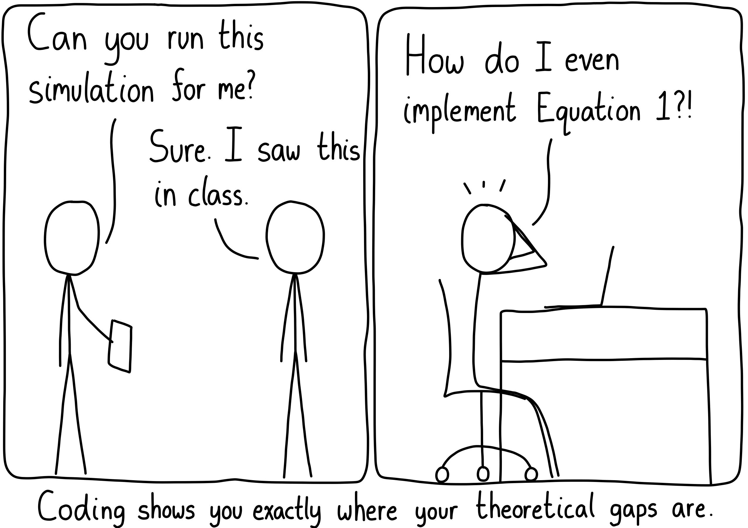 """Left panel: """"Can you run this simulation for me?"""" """"Sure, I saw this in class."""" Right panel: (Later) """"How do I even implement Equation 1?!"""" Caption: Coding shows you exactly where your theoretical gaps lie."""